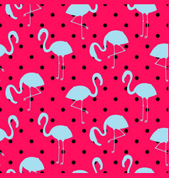 blue and pink flamingo silhouette dotted pattern vector image