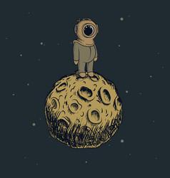 cartoon astronaut standing on the moon vector image