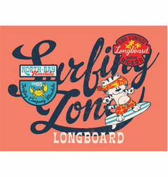 cute cat surfing team vector image vector image