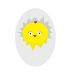 easter baby chicken egg shell crack cute cartoon vector image