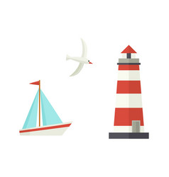 flat cartoon sailboat lighthouse flying seagull vector image vector image