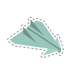 Paper plane origami arming fly cut line vector