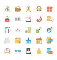 shopping and commerce icons vector image vector image