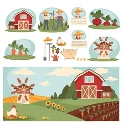Village landscape with farm building vector image