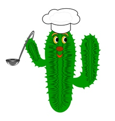 A funny cactus with a chef hat and a soup ladle vector