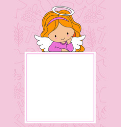 Angel on frame with space for text vector