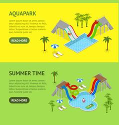 aqua park banner horizontal set isometric view vector image