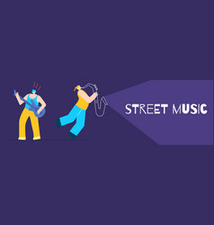 artists playing street music flat design banner vector image
