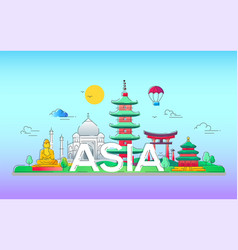 asia - line travel vector image