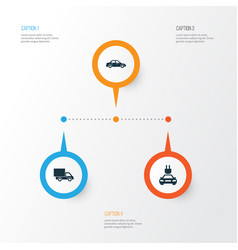 auto icons set collection of plug automobile vector image