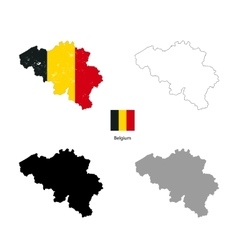 belgium country black silhouette and with flag vector image