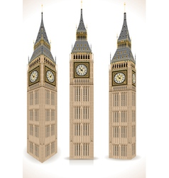Big Ben Tower Isolated on White vector image