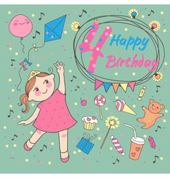 Birthday little girl 4 years vector