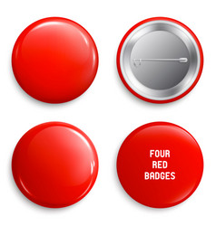 blank red glossy badges or web buttons vector image