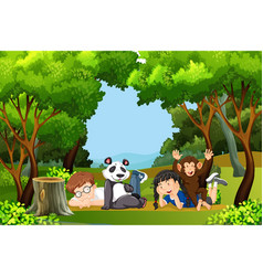 boy and girl in the jungle vector image