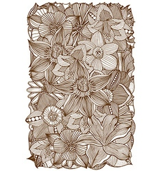 Brown Hand Drawn Floral Pattern vector image