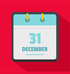 calendar thirty first december icon flat style vector image
