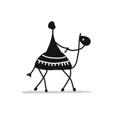 camel black silhouette sketch for your design vector image
