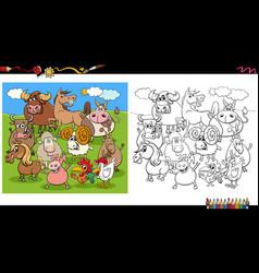 cartoon farm animal characters group coloring vector image