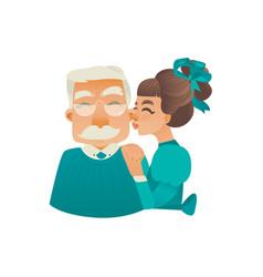 cartoon girl kissing elderly grandfather cheek vector image