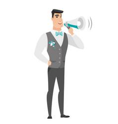 caucasian groom talking into loudspeaker vector image vector image