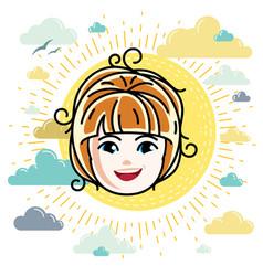 Caucasian type girl face expressing positive vector