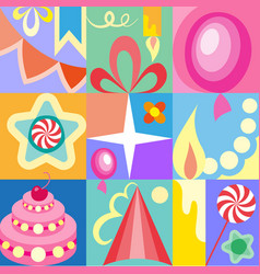 celebratory set of birthday greeting cards kids vector image