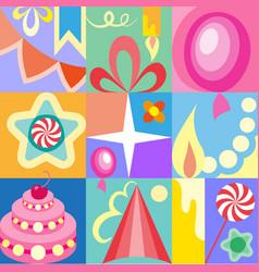 celebratory set of birthday greeting cards kids vector image