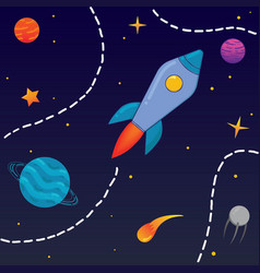 Childrens cartoon rocket in space vector