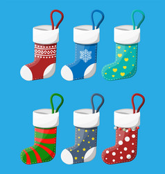christmas stockings in various colors vector image