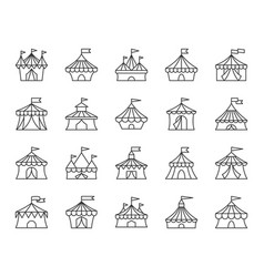 circus tent simple black line icons set vector image
