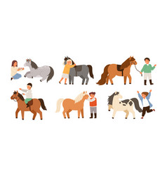 Collection of children and ponies set of cute vector