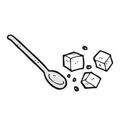 comic cartoon sugar lumps and spoon vector image