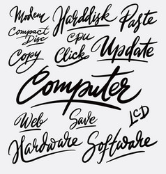 Computer and update hand written typography vector