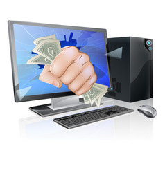 computer with fist full of cash vector image