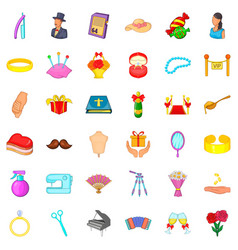 conjunction icons set cartoon style vector image