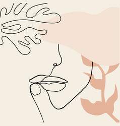 continuous line drawing woman face fashion vector image