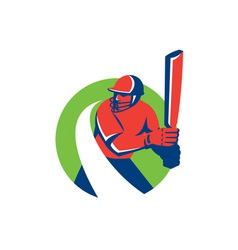 Cricket Player Batsman Batting Retro vector image