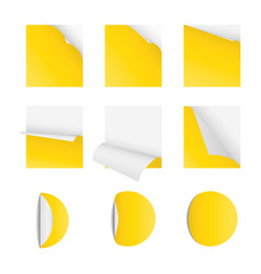 curved corner paper set yellow sticky vector image