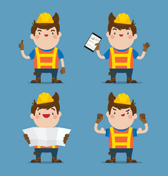 Cute male construction worker 4 action set vector