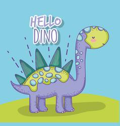 Cute stegosaurus wildlife dino animal vector