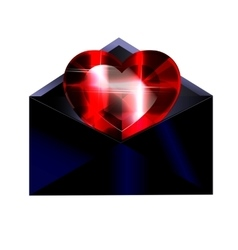 Dark envelope and red heart vector