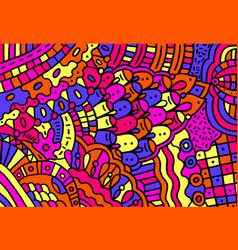 doodle colorful cartoon patterntrippy backdrop vector image