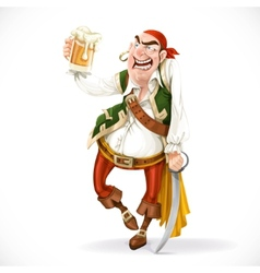 Drunken pirate with a glass of beer is based on vector image vector image