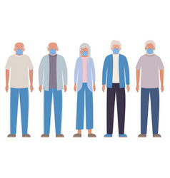 Elder men and woman with masks against covid 19 vector