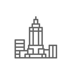empire state building usa landmark line icon vector image