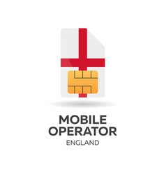 england mobile operator sim card with flag vector image