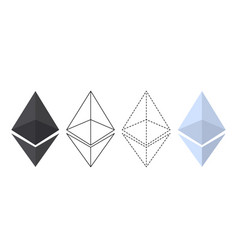 Ethereum chrystal set vector