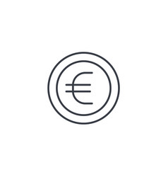 Euro coin currency thin line icon linear vector
