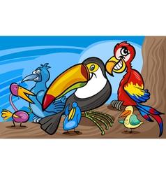 Exotic birds group cartoon vector